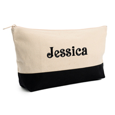 Embroidered Cosmetic Bag with Black Trim