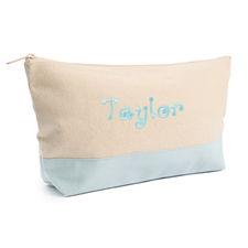 Embroidered Cosmetic Bag with Blue Trim