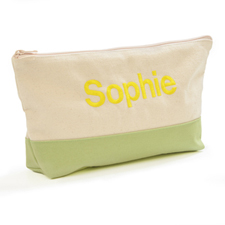 Embroidered Cosmetic Bag with Lime Green Trim