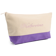 Embroidered Cosmetic Bag with Purple Trim