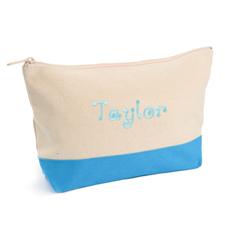 2-Tone Aqua Embroidered Cosmetic Bag