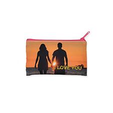 4x7 Personalized Image Glitter Cosmetic Bag, Hot Pink Zipper (Custom 2-sides)