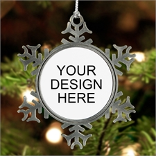 Custom Design Pewter Snowflake Ornament