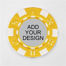 Personalized Yellow Striped Dice Poker Chip