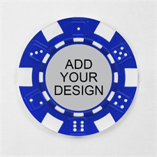 Personalized Blue Striped Dice Poker Chip