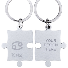 Cancer Symbol Personalized Engraved Puzzle Keychain