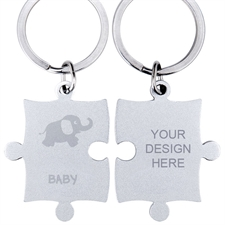 Customized Baby Elephant Engraved Puzzle Keychain