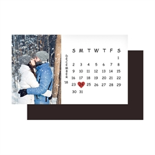 White Save The Date Photo Calendar 2x3.5 Card Size Magnet
