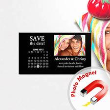 Create Black Save The Date Photo Calendar 2x3.5 Card Size Magnet