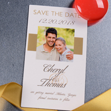 Create Timeless Gold Save The Date Photo 2x3.5 Card Size Magnet