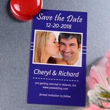 Create Blue Season Save The Date Photo 2x3.5 Card Size Magnet