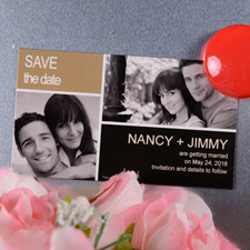Create Black Gold Save The Date Photo 2x3.5 Card Size Magnet