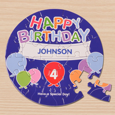 Birthday Balloons Blue Round 7 1/4