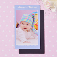Baby Blue Personalized Photo 2x3.5 Card Size Magnet