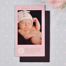 DIY Pink Baptism Photo 2x3.5 Card Size Magnet