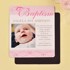 Print 3.5X4 First Cross Baby Girl Baptism Photo Fridge Magnets