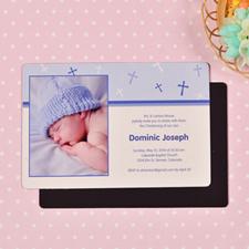 Personalized 4x6 Large Baby Boy Baptism Cross Photo Fridge Magnets