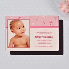 Personalized 4x6 Large Baby Girl Baptism Cross Photo Fridge Magnets