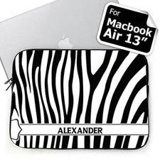 Custom Name Black & White Zebra Pattern Macbook Air 13 Sleeve