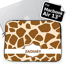 Personalized Name Brown Giraffe Pattern Macbook Air 13 Sleeve