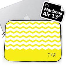 Personalized Initials Yellow Chevron Macbook Air 13 Sleeve