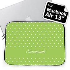 Custom Name Lime Polka Dots Macbook Air 13 Sleeve