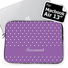Custom Name Lavender Polka Dots Macbook Air 13 Sleeve