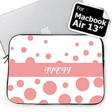 Custom Initials Pink Retro Circles Macbook Air 13 Sleeve