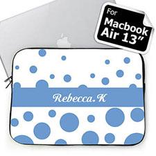 Custom Initials Sky Blue Retro Circles Macbook Air 13 Sleeve