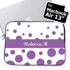 Custom Name Lavender Retro Circles Macbook Air 13 Sleeve