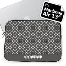 Custom Name Grey Quatrefoil Macbook Air 13 Sleeve