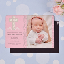 Personalized Framed Cross Girl Baptism 4x6 Large Photo Magnets