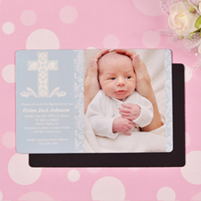 Personalized Blessed Baby Blue Baptism 4x6 Large Photo Magnets