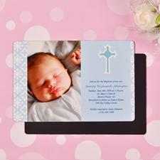 Personalized Faithfully Blue Baptism 4x6 Large Photo Magnets