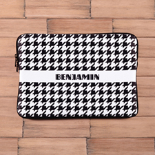 Personalized Name Black Hounds Tooth Macbook Air 13 Sleeve