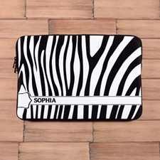 Personalized Name Black & White Zebra Pattern Macbook Pro 15 Sleeve (2015)