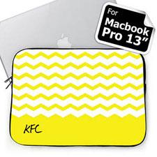 Personalized Name Yellow Chevron Macbook Pro 13 Sleeve (2015)