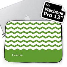 Personalized Name Green Chevron Macbook Pro 13 Sleeve (2015)