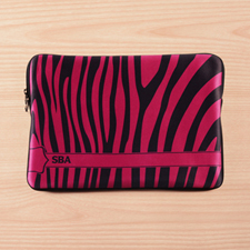 Personalized Initials Black & Purple Zebra Pattern Macbook Pro 15 Sleeve (2015)