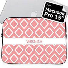Custom Name Pink Lkat Macbook Pro 15 Sleeve (2015)