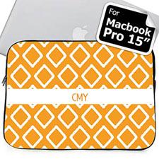Custom Initials Orange Lkat Macbook Pro 15 Sleeve (2015)