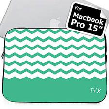 Custom Initials Mint Chevron Macbook Pro 15 Sleeve (2015)