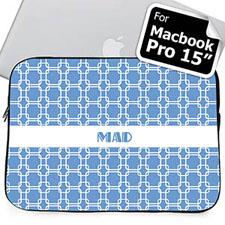 Custom Initials Sky Blue Links Macbook Pro 15 Sleeve (2015)