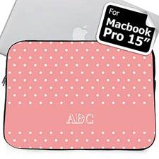 Custom Initials Pink Polka Dots Macbook Pro 15 Sleeve (2015)