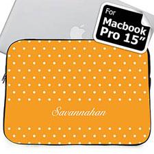 Custom Name Orange Polka Dots Macbook Pro 15 Sleeve (2015)