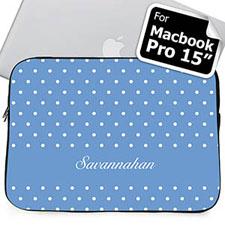 Custom Name Sky Blue Polka Dots Macbook Pro 15 Sleeve (2015)