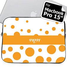 Custom Initials Orange Retro Circles Macbook Pro 15 Sleeve (2015)