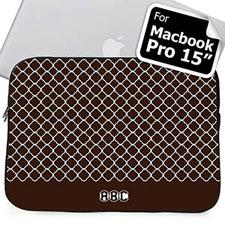 Custom Initials Chocolate Quatrefoil Macbook Pro 15 Sleeve (2015)