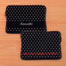Custom Front And Back Personalized Name Black Polka Dots Macbook Air 13 Sleeve