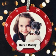 Doggie's Christmas Personalized Photo Porcelain Ornament